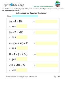 Solve Algebraic Equation Worksheet Worksheet