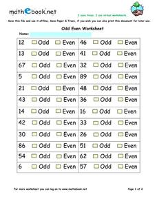Odd Even Worksheet Worksheet