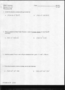 Absolute Extrema Worksheet