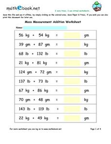 Mass: Measurement Addition Worksheet