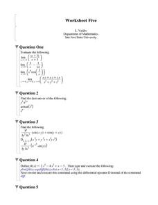 Worksheet Five: Limits and Derivatives Worksheet