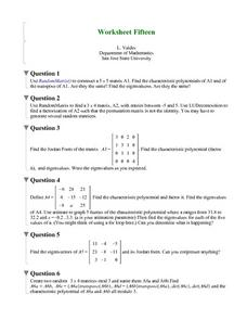 Worksheet Fifteen: Random Matrix Worksheet