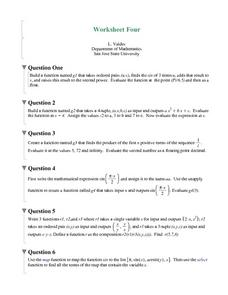 Worksheet Four: Functions Worksheet