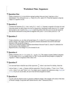 Worksheet Nine: Sequences Worksheet