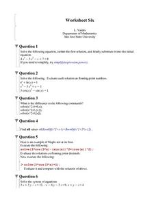Worksheet Six: System of Equations Worksheet
