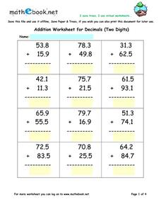 Addition Worksheet for Decimals (Two Digits) Worksheet