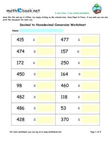 Decimal to Hexadecimal Conversion Worksheet