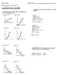Derivative Functions Worksheet