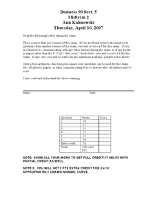Midterm 2: Statistics and Probability Worksheet