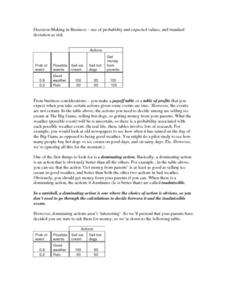 Decision-Making in Business: Probability Worksheet