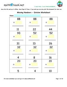 Missing Numbers--Division Worksheet Worksheet