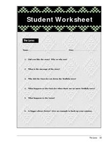 Student Worksheet-The Lorax Lesson Plan