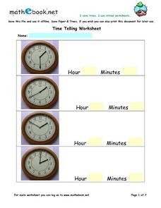 Telling Time - Analog Clock Faces Worksheet