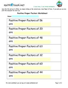 Positive Proper Factors Worksheet Worksheet