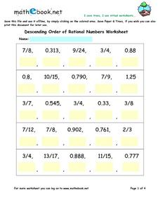 Descending Order of Rational Numbers Worksheets Worksheet