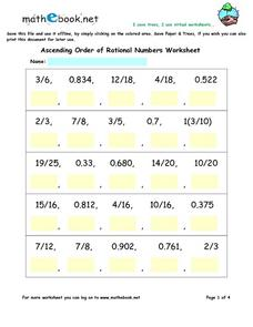 Ascending Order of Rational Numbers Virtual Worksheet Worksheet