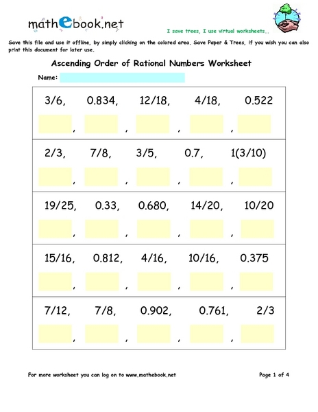 Ordering Rational Numbers Lesson Plans Worksheets
