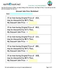Discounting Prices - Finding the Sale Price Using Percentages Worksheet