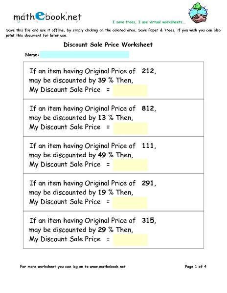 All Worksheets » Discount Worksheets - Printable Worksheets Guide ...
