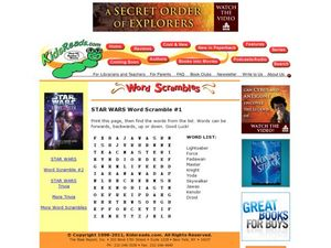 STAR WARS Word Scramble #1 Lesson Plan