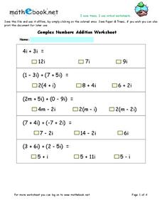 Complex Numbers Addition Worksheet Worksheet