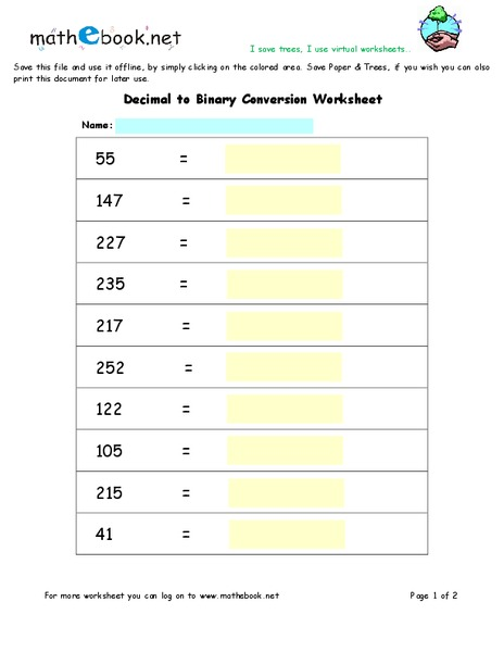 Decimal To Binary Conversion Worksheet For 8th 10th