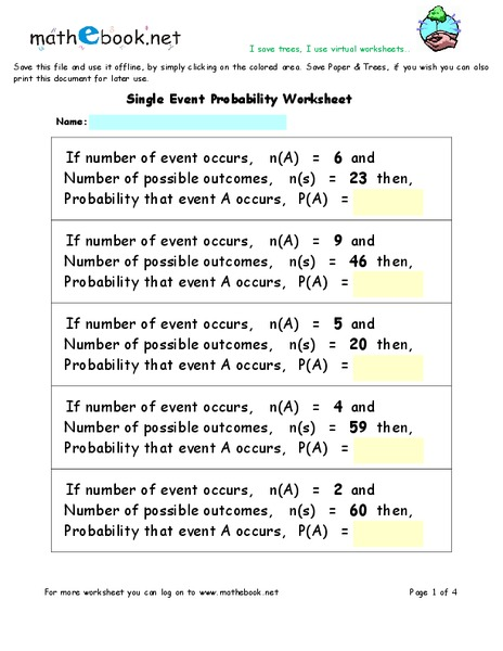 Single Event Probability Worksheet for 7th - 9th Grade
