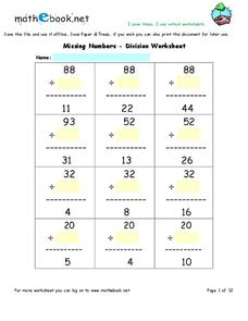 Missing Numbers - Division Worksheet Interactive