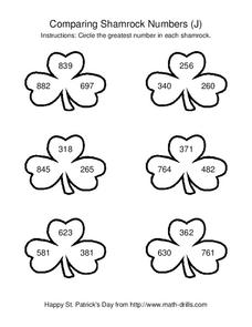 Comparing Shamrock Numbers (J) Worksheet