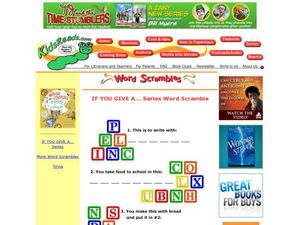 If You Give a ...Series Word Scramble Lesson Plan