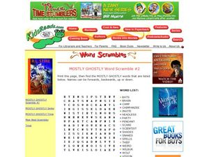 Mostly Ghostly Series Word Scramble Lesson Plan