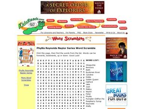 Phyllis Reynolds Naylor Series Word Scramble Lesson Plan