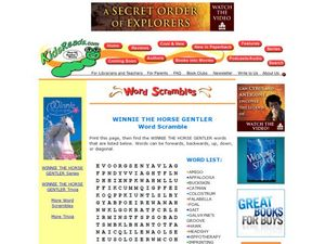 Winnie the Horse Gentler Word Scramble Lesson Plan