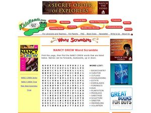Nancy Drew Word Scramble Lesson Plan