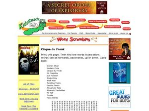 Cirque du Freak Word Search Lesson Plan