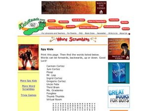Spy Kids Word Search Lesson Plan