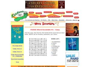 Fudge Word Scramble #1 - Easy Lesson Plan