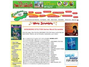 Geronimo Stilton Series Word Scramble Lesson Plan