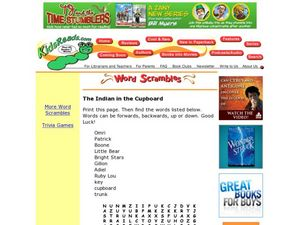 The Indian in the Cupboard Word Search Lesson Plan