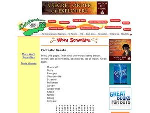 Fantastic Beasts Word Search Lesson Plan