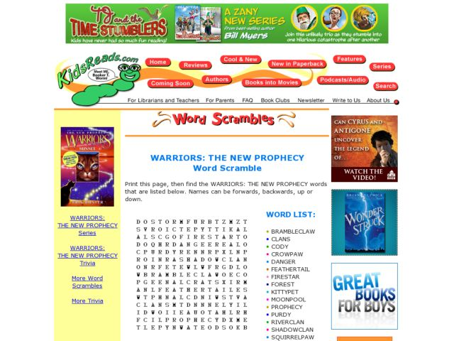 Warriors: The New Prophecy Word Scramble Lesson Plan