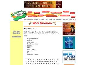 Wayside School Word Search Lesson Plan
