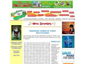 Warriors: Power of Three Word Scramble Lesson Plan