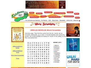 Amelia Bedelia Word Scramble Lesson Plan