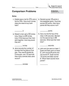 Comparison Problems Worksheet
