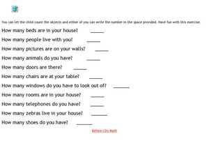 Counting Objects: Your House Worksheet