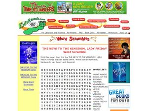 The Keys to the Kingdom, Lady Friday Word Scramble Lesson Plan