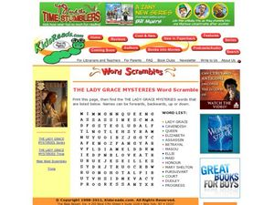 The Lady Grace Mysteries Word Scramble Lesson Plan