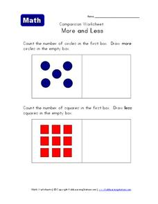 Comparison Worksheet: More and Less Worksheet