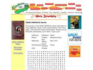 Dear America Series Word Search Lesson Plan